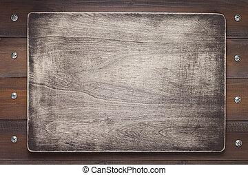 plano de fondo, letrero nombre, textura de madera