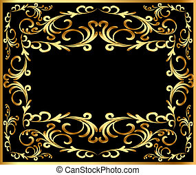 plano de fondo, marco, vegetal, gold(en)