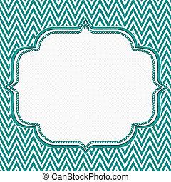 plano de fondo, marco, zigzag, galón, blanco, cerceta
