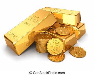plano de fondo, monedas de oro, aislado, lingotes, blanco