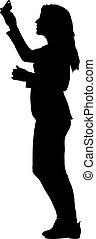 plano de fondo, mujer, brazo, blanco, negro, siluetas, levantado