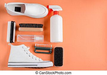 plano de fondo, naranja, productos, shoes, limpieza
