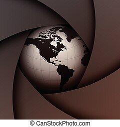 plano de fondo, obturador, y, tierra