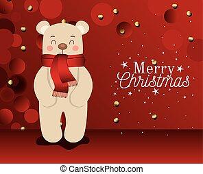 plano de fondo, oso, alegre, letras, icono, rojo, navidad