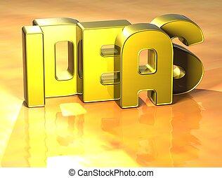 plano de fondo, palabra, ideas, amarillo, 3d
