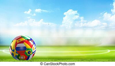 plano de fondo, panorama, fútbol, interpretación, estadio, 3d