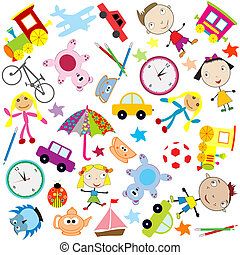 plano de fondo, para, niños, con, diferente, clase, de, juguetes