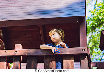 plano de fondo, playground., juego, confuso, niño niño,...