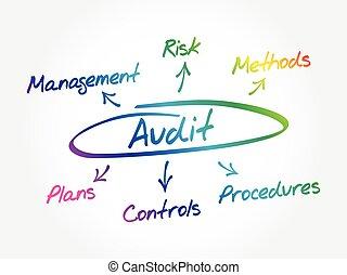 plano de fondo, proceso, auditoría, mindmap, concepto
