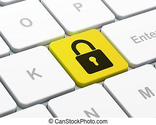 plano de fondo, protección, candado, computadora, cerrado, teclado, concept: