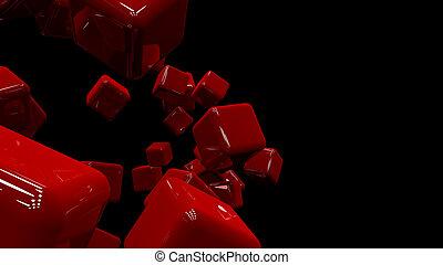 plano de fondo, raster, cubes., resumen, rojo