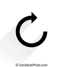 plano de fondo, refrescar, señal, flecha negra, blanco, icono