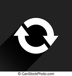plano de fondo, reload, flecha negra, blanco, icono