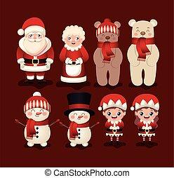 plano de fondo, rojo, conjunto, iconos, navidad
