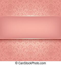 plano de fondo, rosa, ornamental, tela, texture., vector,...