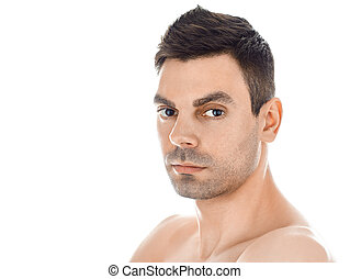 plano de fondo, sano, aislado, primer plano, limpio, piel, retrato, blanco, guapo, hombre