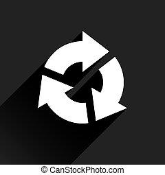 plano de fondo, señal, flecha negra, blanco, rotación, icono