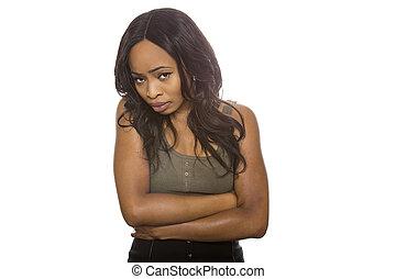 plano de fondo, tímido, hembra negra, expresiones, blanco