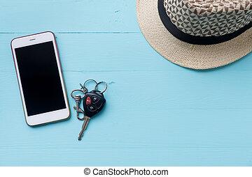 plano de fondo, tableta, cima, vacaciones, space., madera, teléfono, tabla, copia, vista