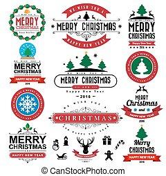 plano de fondo, tipográfico, alegre, año, nuevo, navidad,...