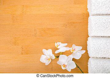 plano de fondo, toallas, concepto, bambú, balneario, ...