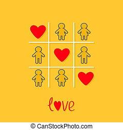 plano de fondo, tres, corazón, hombre, línea, diseño, tac, amor, señal, rojo, mujer, dedo del pie, amarillo, game., icono, tic, contorno, plano
