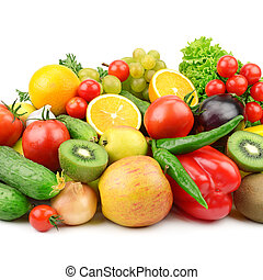 plano de fondo, vegetales, aislado, blanco, fruits
