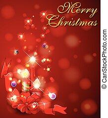 plano de fondo, velas, rojo, feliz navidad, tarjeta