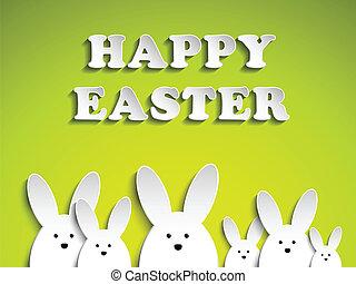 plano de fondo, verde, conejo, conejito de pascua, feliz