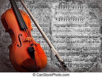 plano de fondo, violín, grunge, musical, retro