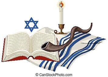 plano de fondo, yom, blanco, elemento, kippur