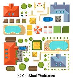 plano, de, privado, casa, vetorial, ilustração