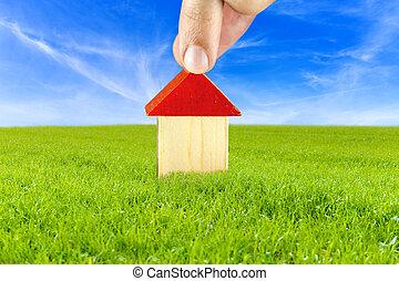 plano, de, um, casa, em, cofre, e, limpo, meio ambiente