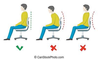 plano, derecho, oficina, sentado, espina dorsal, posture., mal, vector, salud, infographics