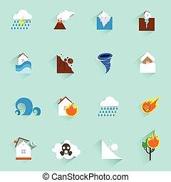plano, desastre natural, iconos