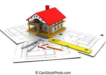 plano, desenhos técnicos, casa, 3d