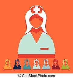 plano, design:, enfermera