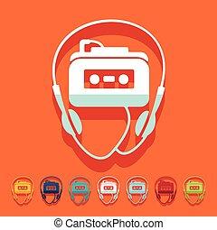 plano, design:, jugador de la música