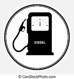 plano, dice, columna, coches, diesel, relleno, diesel., fuel., icono