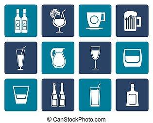 plano, diferente, clase, de, bebida, iconos