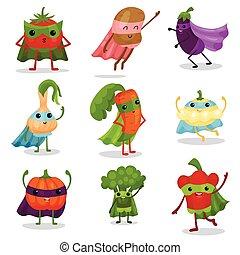 plano, diferente, conjunto, superhero, cabos, vegetales, máscaras, caracteres, posturas, caricatura