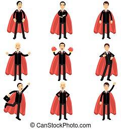 plano, diferente, conjunto, superhero, oficinacomercial, clásico, capes., trabajadores, carácter, leadership., trajes, exitoso, poses., vector, diseño, negro, carrera, rojo, hombre