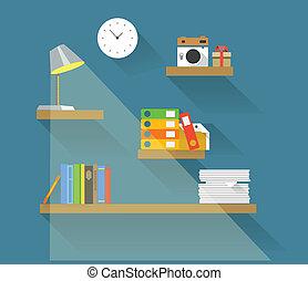plano, diferente, elementos, shelves., objetos, diseño,...