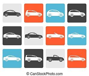plano, diferente, tipos, de, coches, iconos