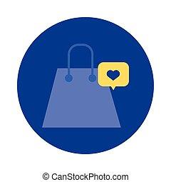 plano, discurso, corazón, bloque, estilo, bolsa, papel, compras, burbuja