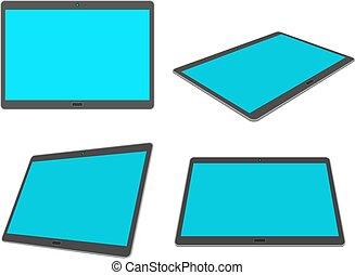 plano, diseño, 3d, tableta, conjunto, aislado, blanco, fondo.