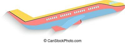 plano, diseño, avión, aislado, blanco, fondo., vector