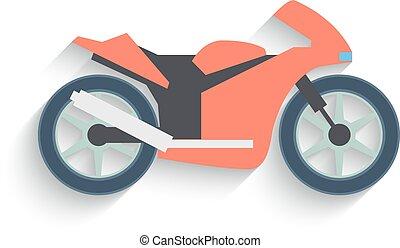 plano, diseño, bicicleta, aislado, blanco, fondo., vector