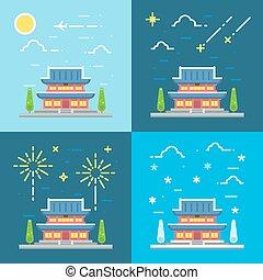 plano, diseño, chandeokgung, palacio