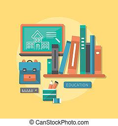 plano, diseño, concepto, de, educación